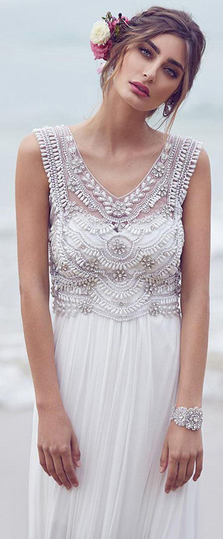 Fabulous Silk-like Chiffon V-neck Neckline Sheath Wedding Dresses With Beadings