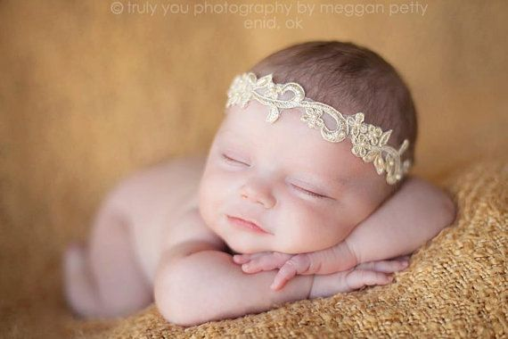Newborn pearl crown halo headband in cream gold by ClairebowBaby