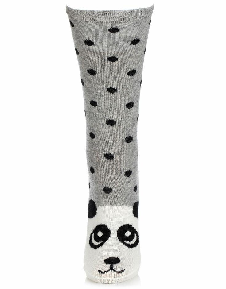 Xanda Panda Face Socks   Grey   Accessorize, 5,50e