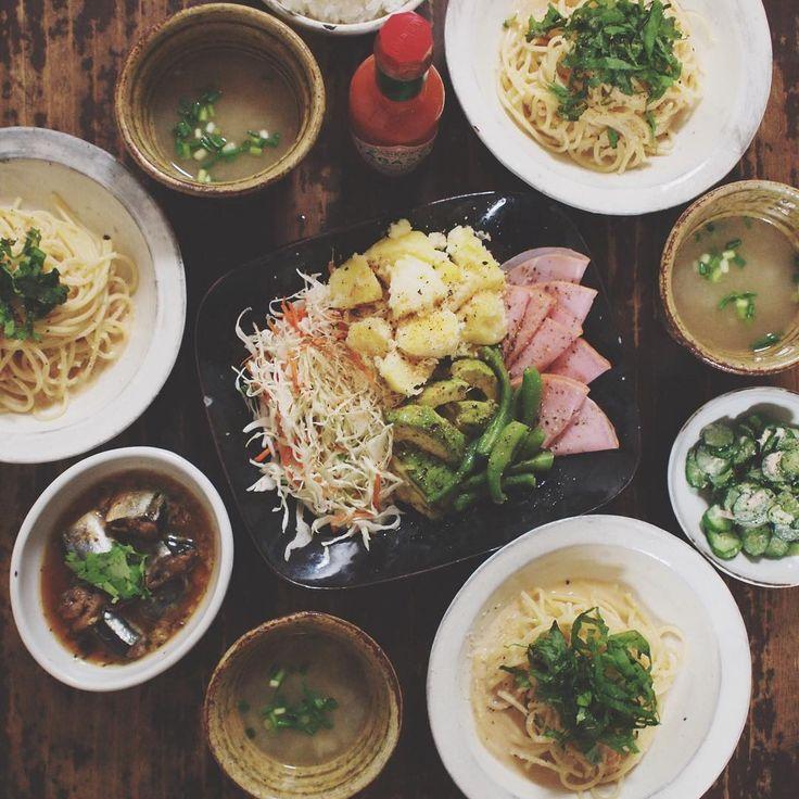 09.01 明太子パスタ、さんまの醤油煮、サラダ、ツナマヨきゅうり、大根の味噌汁、ごはん  #おうちごはん#晩ごはん#明太子パスタ