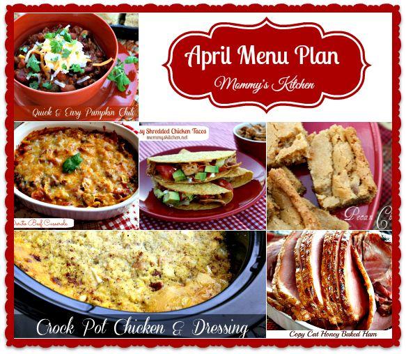 Mommy's Kitchen - April 2014 Monthly Dinner Menu Plan
