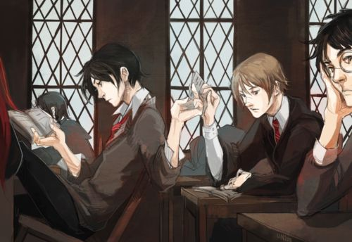 """Marauders experiencing class boredom. In """"The Prisoner of Azkaban"""" McGonagall describes James and Sirius as two of the most talented students she ever taught."""