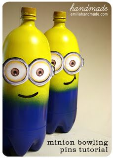 Despicable Me Minion Bowling Tutorial - Made from 2 liter bottles. GREAT FOR PARTIES, RAINY DAYS INSIDE OR ANYTIME FUN :)
