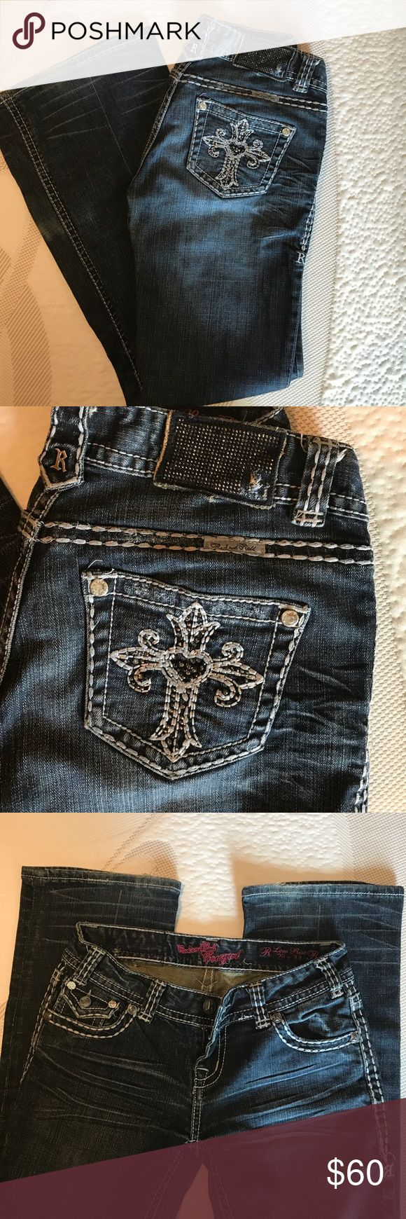Rock and Roll Cowgirl Jeans Great condition. Slightly distressed on bottoms. Low rise 28x34 Rock and Roll Jeans Boot Cut
