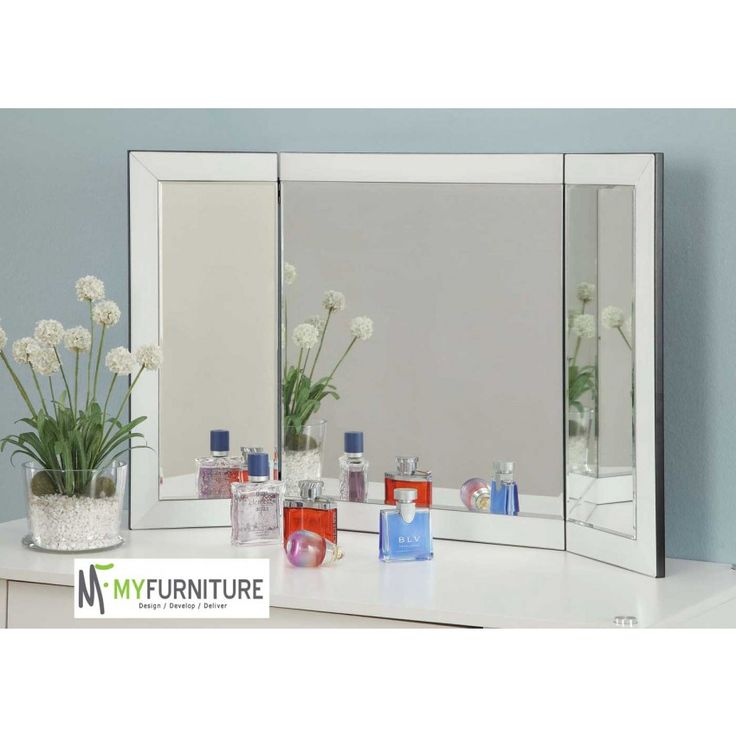 vanity tri fold mirror white glass frame for dressing table or console 147