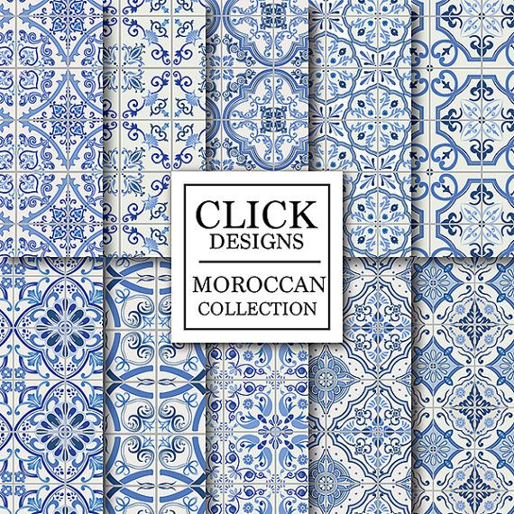 "Moroccan Digital Paper: "" BLUE MOROCCAN TILES"" retro seamless scrapbook papers with blue mosaic patterns, Lisbon tiles, arabesque, ethnic"