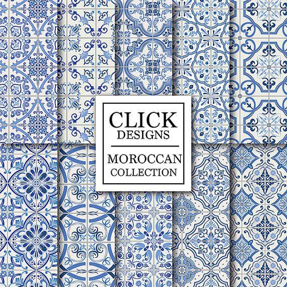 Moroccan Digital Paper:  BLUE MOROCCAN TILES retro by ClickDesigns