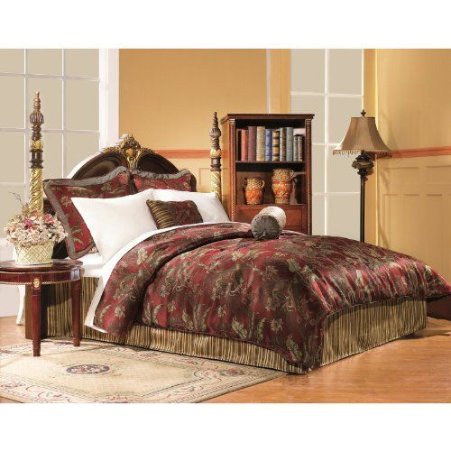 Chelsea Frank Red Tropical Four Piece Jacquard Stripe Comforter Set by Chelsea Frank. $113.98. Bring the tropics to your bedroom.. Jacquard stripe construction. Includes Comforter, Two shams, and Bedskirt. Coordinating red / gold jacquard stripe for the bed skirt. Beautiful red ground tropical leaf design. The Red Tropical 4 piece comforter set uses a beautiful red ground tropical leaf design on the comforter and shams, with a coordinating red / gold jacquard stripe...
