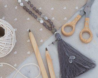 108 Mala Beads Necklace, Howlite and Grey Agate, silver yoga charm, swarovski crystal gems, 108 Mala beads, yoga gift, meditiation jewelry