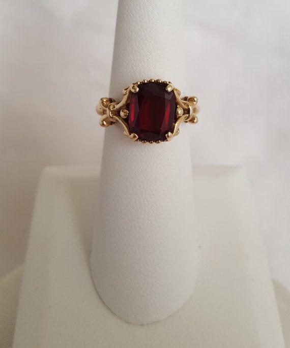 http://rubies.work/0714-ruby-earrings/ Antique Vintage Garnet Ring in Baroque Style 10k by TheEstateBling