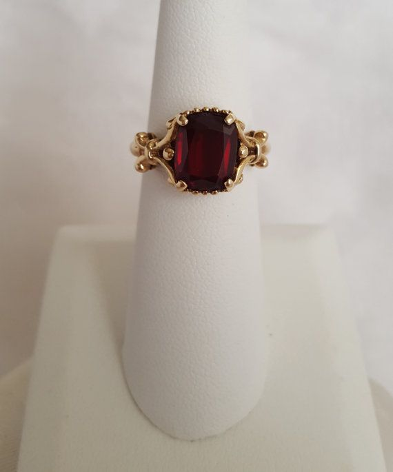 Antique Vintage Garnet Ring in Baroque Style 10k by TheEstateBling