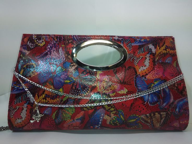 Bolso de mano en piel pintada, estilo vintage rojo de faylinnatelier por DaWanda.com