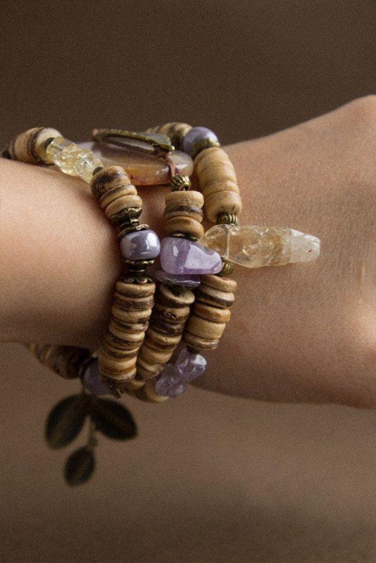 Violet Moon bracelet with natural stones от TaigaTheBorealForest