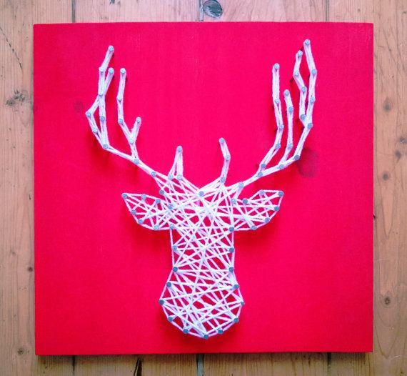 Stag Silhouette String Art Christmas Deer Reindeer by Woollysaurus, £17.99