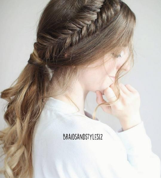 fishtail crown braid into a ponytail