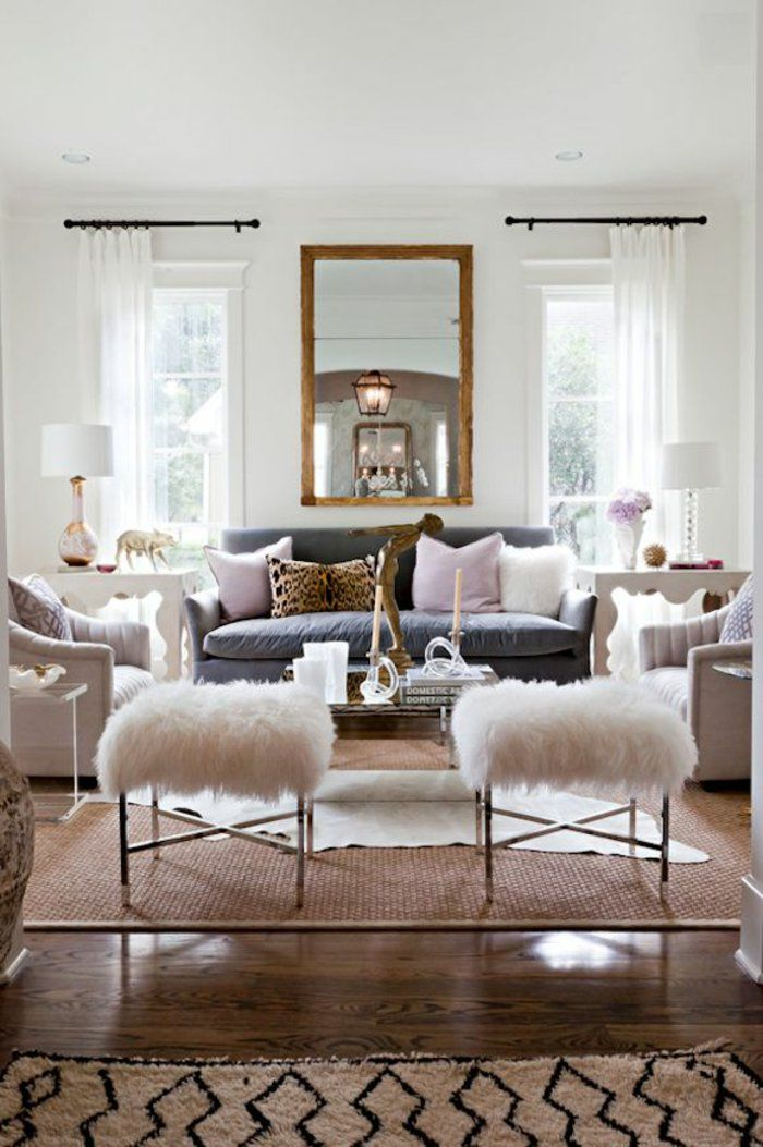 Einrichtungsideen Wohnzimmer Teppiche Teppich Modern