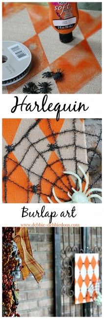 Harlequin burlap art for Halloween. Embellished with Dollar tree spooky decor. So cute and tool all of 15 minutes to whip up! #debbiedoos