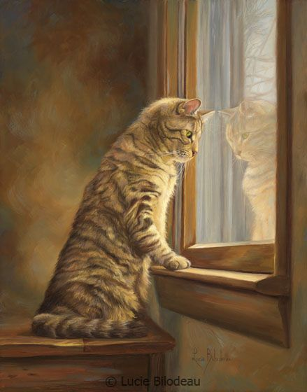 """""""Peering Out the Window"""", oil on panel, 14"""" x 11"""", by Lucie Bilodeau."""