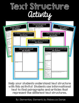 I created this product to help my students practice their understanding of text structure.  Text structure refers to how information in a passage is organized. In this product, students focus on the following text structures, which are part of the Common Core Standards: DescriptionChronologicalCause and EffectCompare and ContrastProblem and SolutionIn this project, students will use magazines or other informational text to find the different types of text structures.