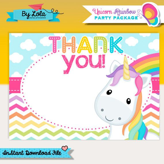 Instant Download - Unicorn Rainbow Birthday Thank You Card - Note Card Unicorn Colorful Rainbow Printable PDF File by ByLolaPrintables