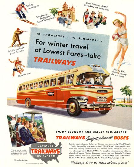 National Trailways Bus System Winter 1948 | Mad Men Art | Vintage Ad Art Collection