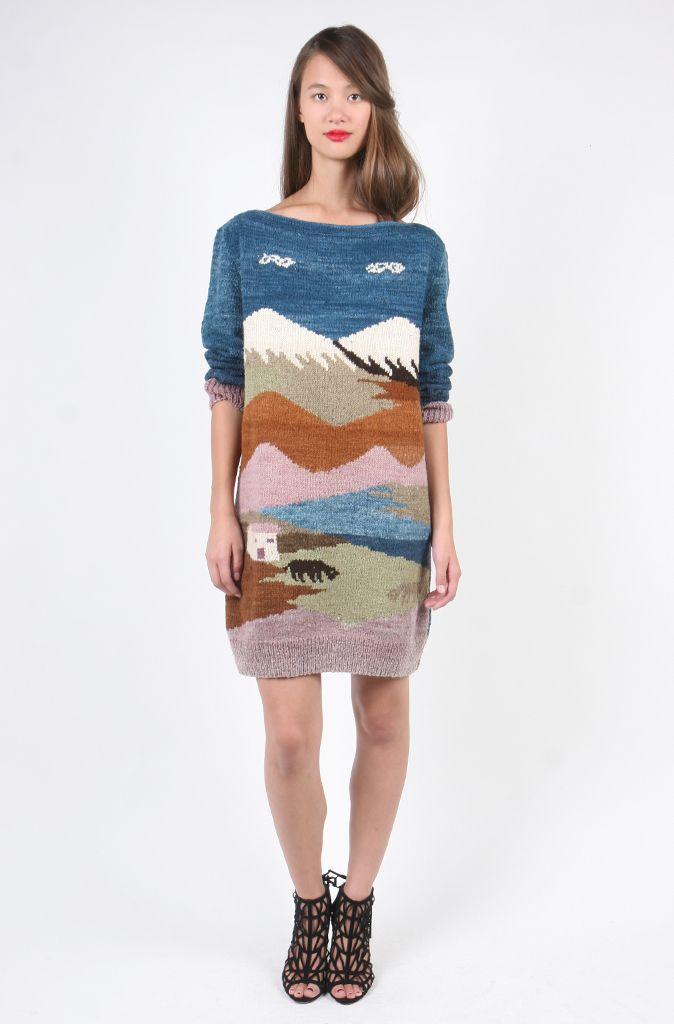 Hand Knit Landscape Sweater Dress