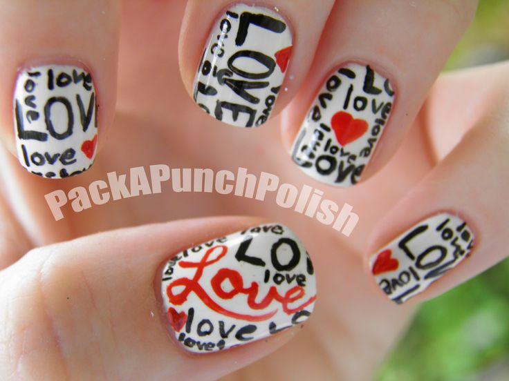 Words of Love with hearts nail artHeart Nails Art, Nails Art Ideas, Accent Nails, Nailart, Nails Design, Valentine Nails, Valentine Day Nails, Nails Polish, Nail Art