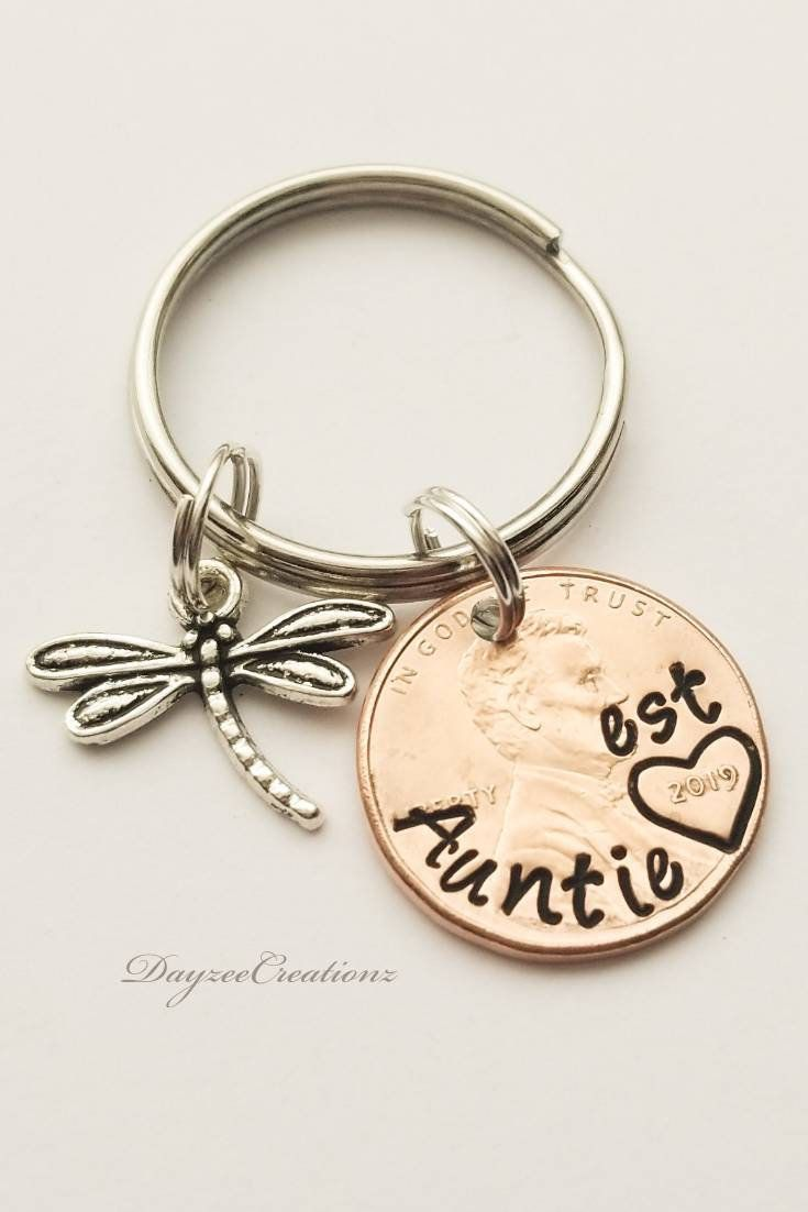 Personalized Aunt Est Penny Keychain Mother S Day Gift Sister Mom Grandma Auntie Best Friend Birthday Christmas Custom Keyring Personalized Aunt Mother Day Gifts Best Mothers Day Gifts