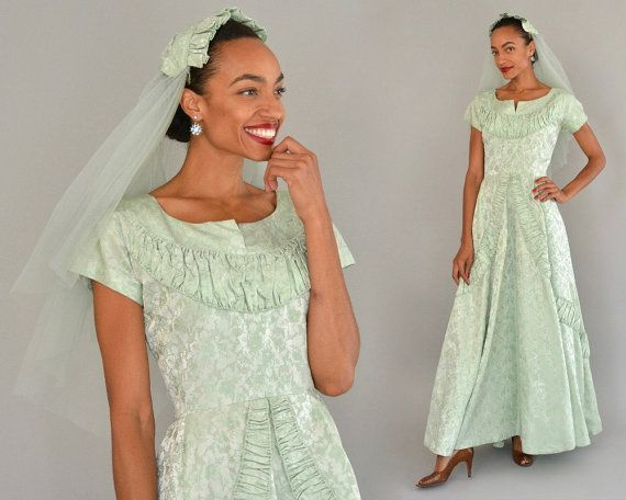 50s Bridesmaid Dress - Vintage Fifties Seafoam Green Brocade Vogue Couturier Bridal Dress Full Length With Matching Veil Full Skirt Size S M