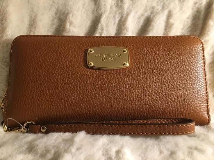 NWT MICHAEL KORS JET SET LEATHER TRAVEL CONTINENTAL WALLET/WRISTLET IN LUGGAGE #MichaelKors #Wallet