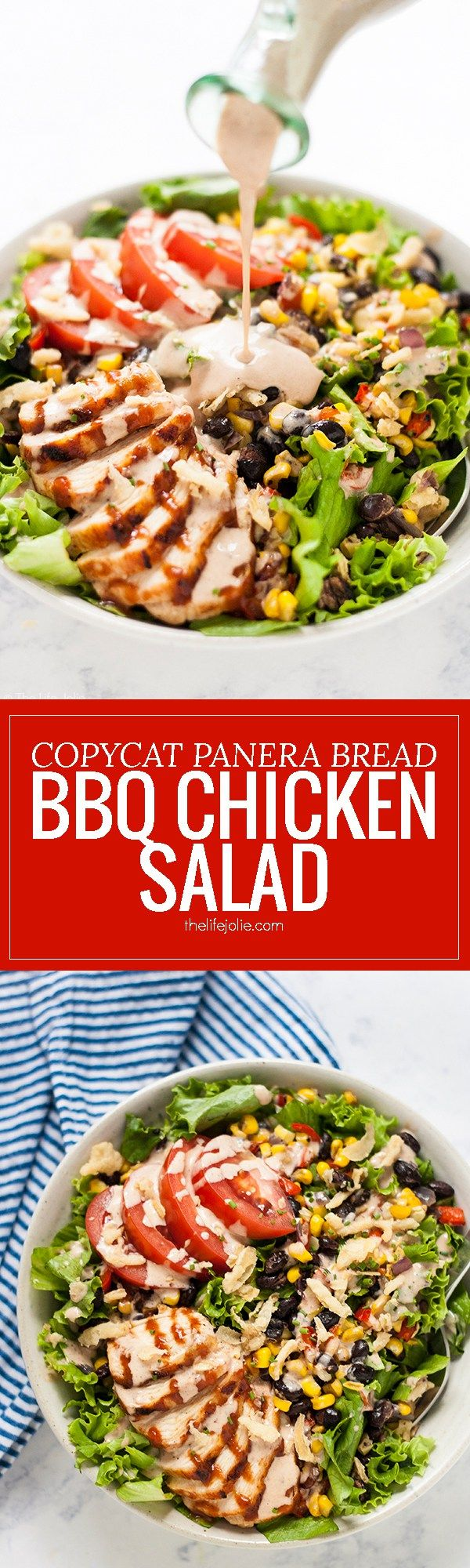 This Copycat Panera Bread BBQ Chicken Salad recipe is a delicious lunch or dinner. Chopped lettuce, tender grilled chicken, roasted corn salsa, tomatoes and crispy french fried onions round out this salad with tangy BBQ sauce and BBQ Ranch dressing drizzled over the top. It's as healthy as it is tasty and so quick and easy that it practically begs you to make it for a simple weeknight dinner!