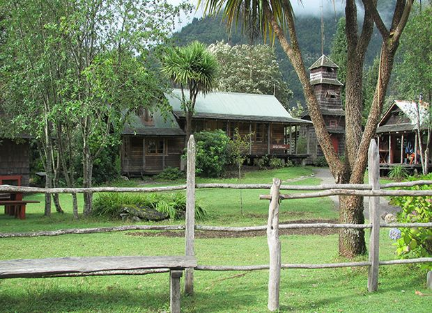 Riverside Lodge on the banks of the Rio Cochamó. Next day we saddled up and rode on horseback into Cochamó Valley.