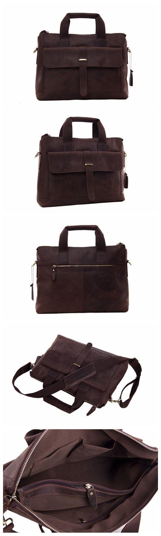 Leather Mens Briefcase Messenger Bag Laptop Shoulder Bag