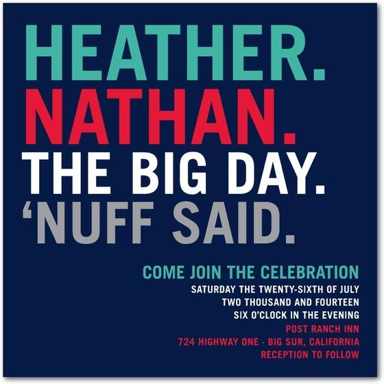 Nuff Said Signature Wedding Invitations in Brown Blue Pink – Non Traditional Wedding Invite Wording
