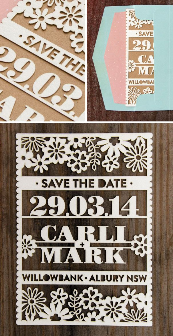Creative wedding invitations: Cute Laser Cut Save The Date