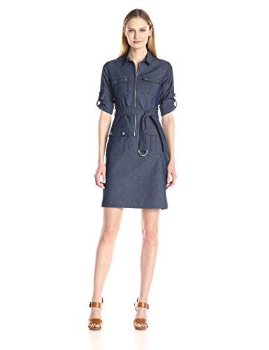 Sharagano Women's Denim Shirt Dress, Vintage Blue, 16. Self belt included. Career attire.
