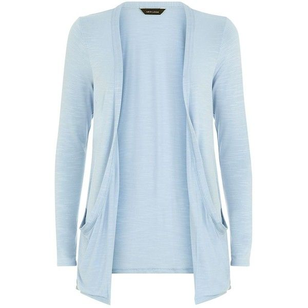 1a760de801 Light Blue Drop Pocket Boyfriend Cardigan ( 12) ❤ liked on Polyvore  featuring tops