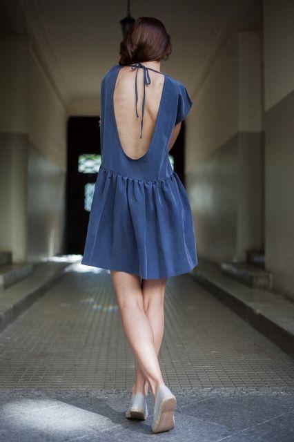 OPEN BACK OVERSIZE BLUE DRESS | Exceptional dress for summer parties & beach days <3 get it @ theodderside.com