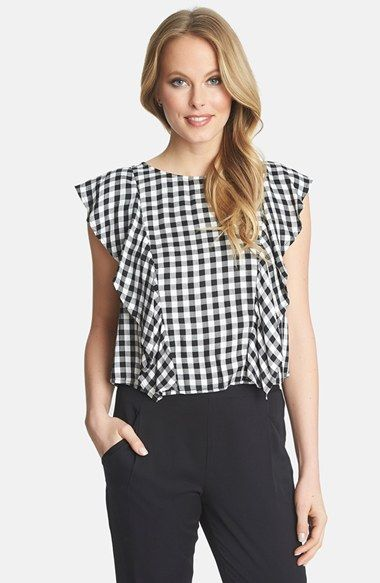 1.State Ruffle Gingham Blouse available at #Nordstrom