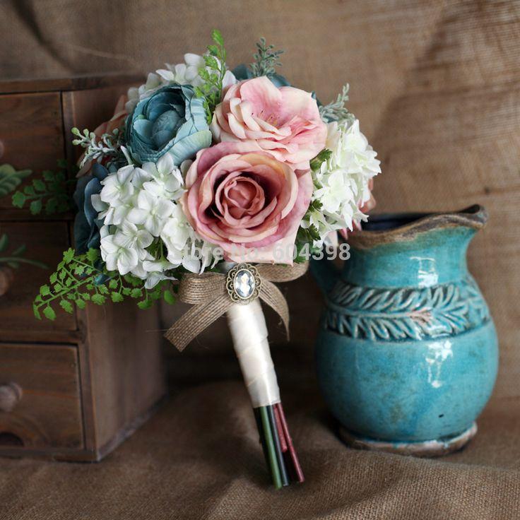 букет невесты бирюзовый гортензия - Поиск в Google