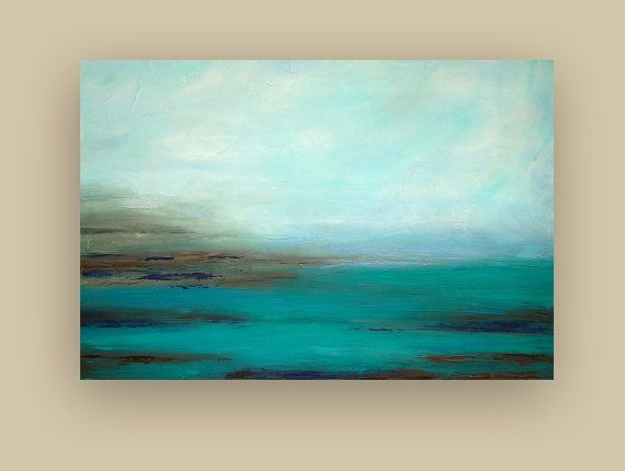 Acrylic Abstract Painting Fine Art Turquoise by OraBirenbaumArt