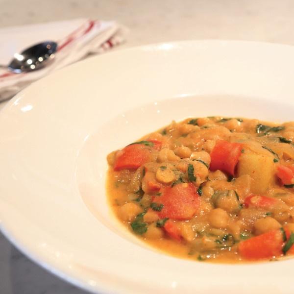 style vegetable stew - Chick peas, potatoes, vegetables, coconut milk ...