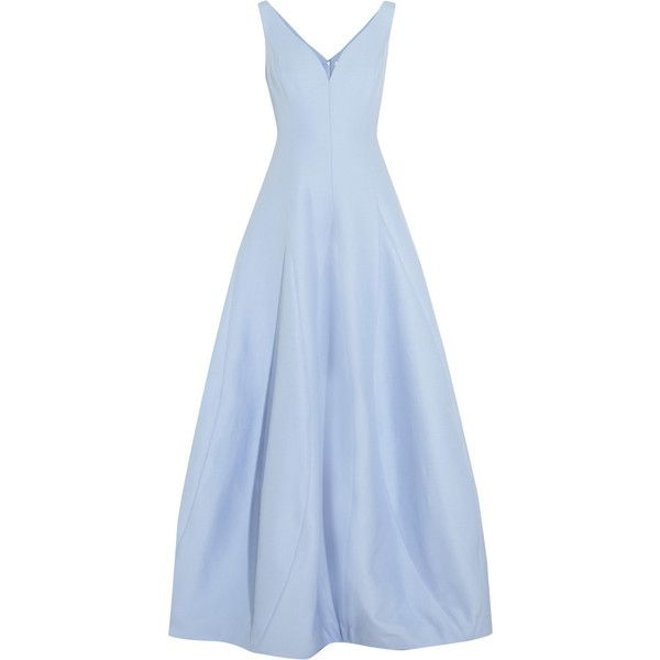 Halston Heritage Cotton and silk-blend gown (£250) ❤ liked on Polyvore featuring dresses, gowns, long dress, blue, blue evening dresses, blue ball gown, halston heritage gown, halston heritage and blue gown