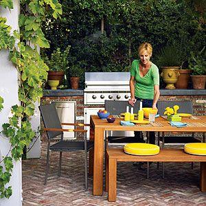 Outdoor Living Areas and Decorating Tips: Patio Design, Gardens Ideas, Backyard Ideas, Backyard Patio, Outdoor Living, Brick Patio, Outdoor Kitchens, Patio Ideas, Outdoor Dining Rooms