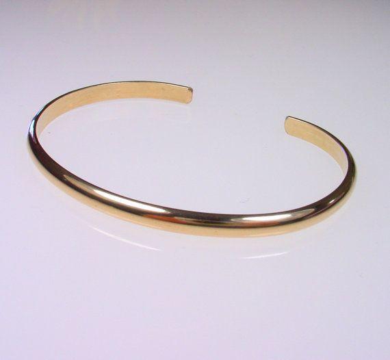 37bbec78d 1 Wide Smooth Gold Cuff Bracelet 14k Yellow by mariakopadis, $64.00 |  bracelets | Gold bangle bracelet, Bracelets, Gold