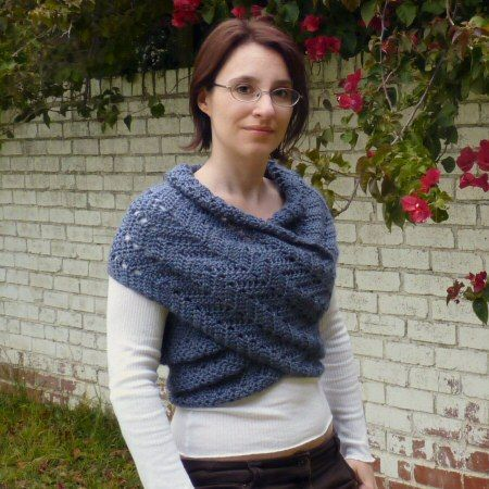 Planet June Eyelet Ripple Scarf Sweater
