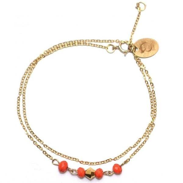 Bracelet avec chaîne double en plaqué or 14 carats et perles de cristal orange et doré.Fabriqué à Paris.Délais de livraison : 2-5 jours.