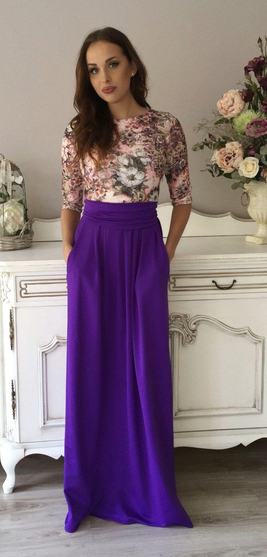 Lila Blumen Print Maxi Damen Kleid 3/4 Ärmel Taschen von DesirVale