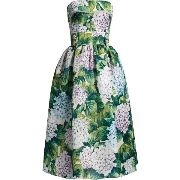 Ortensia-print strapless organza dress Dolce Gabbana... ($4,975) ❤ liked on Polyvore featuring dresses, robe, green color dress, print dresses, green strapless dress, dolce gabbana dress and pattern dress