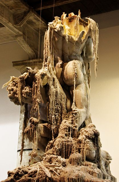 Urs Fischer, Untitled, 2011. Wax, pigments, wicks, steel. Fischer's candle sculptures slowly burn and melt.